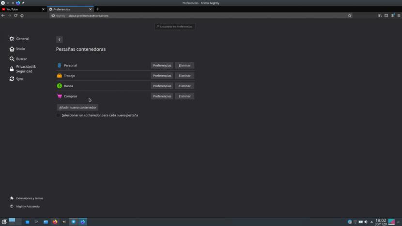 Firefox 74 permitirá meter las pestañas en contenedores