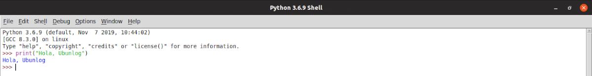 IDLE Python hola mundo
