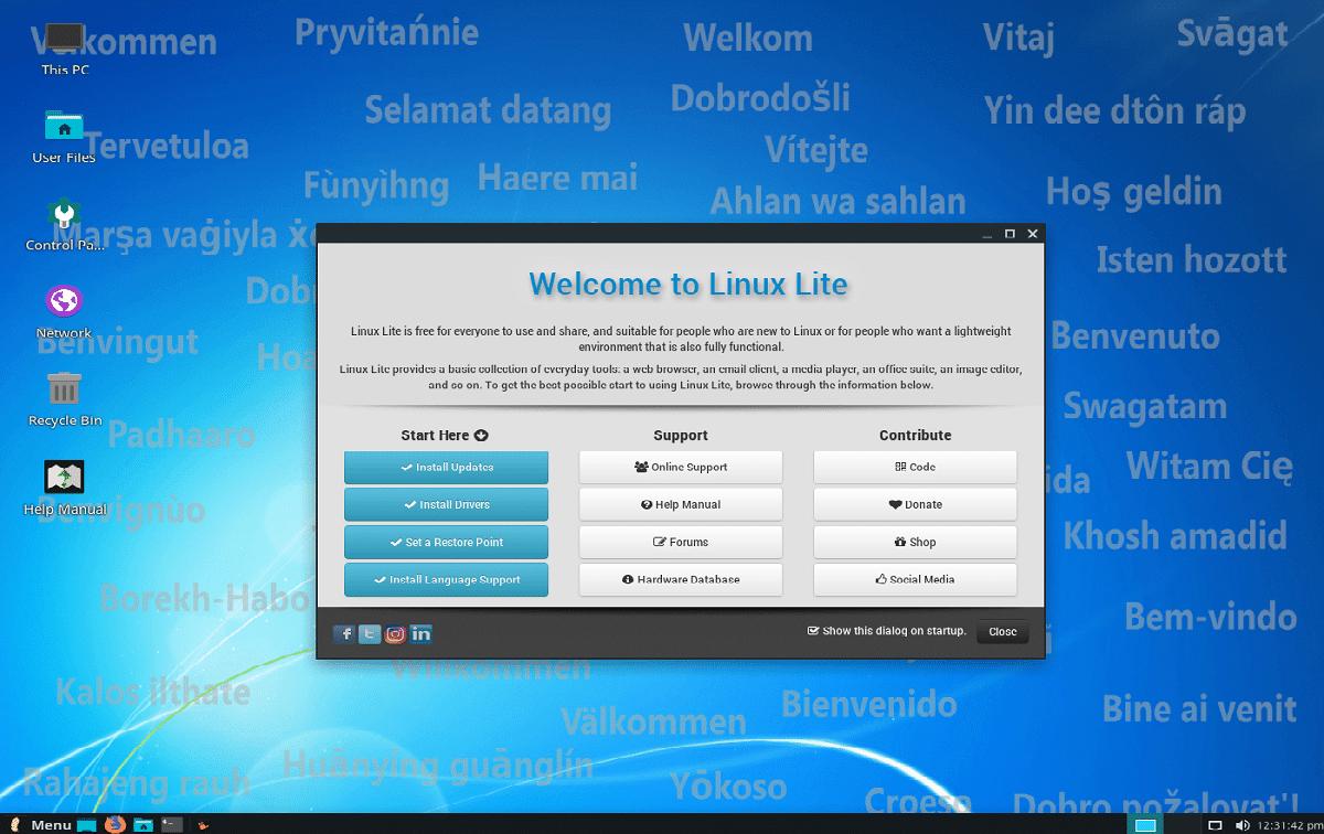 Linux Lite 4.8 - pantalla de bienvenida