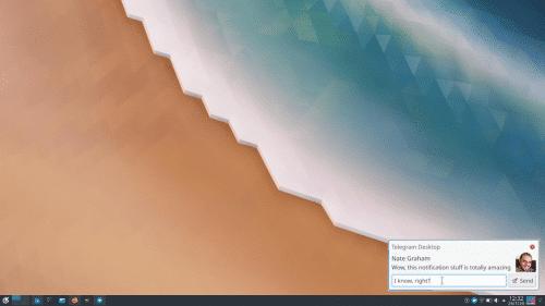 Telegram en las notificaciones de Plasma 5.18
