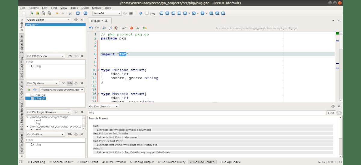 código de ejemplo de go con LiteIDE