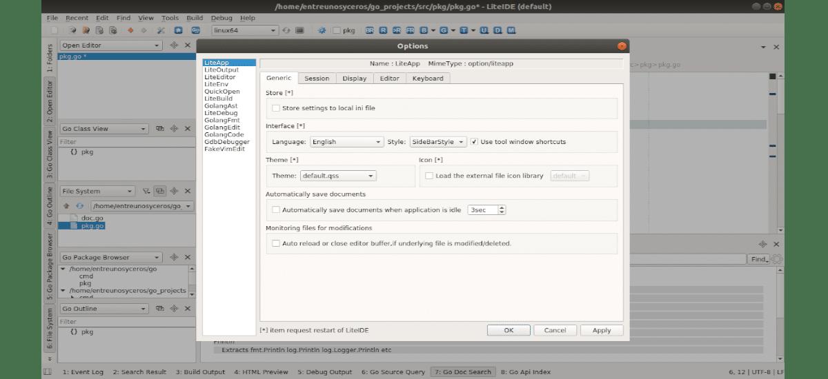opciones disponibles en LiteIDE