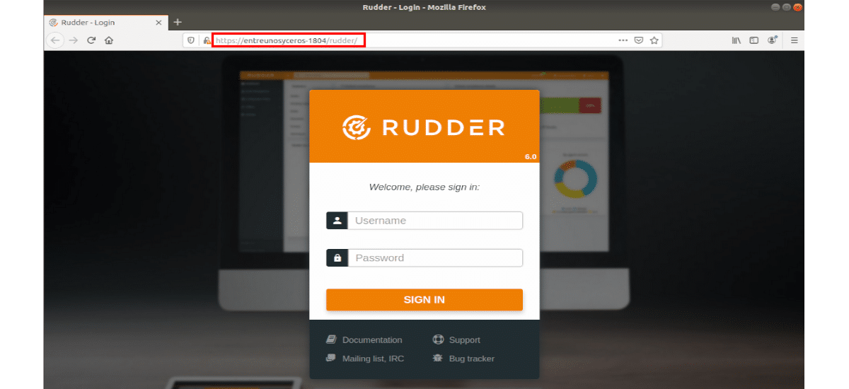 pantalla de inicio para Rudder