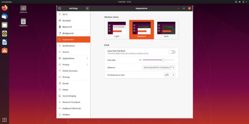 Configuración de apariencia en Ubuntu 20.04