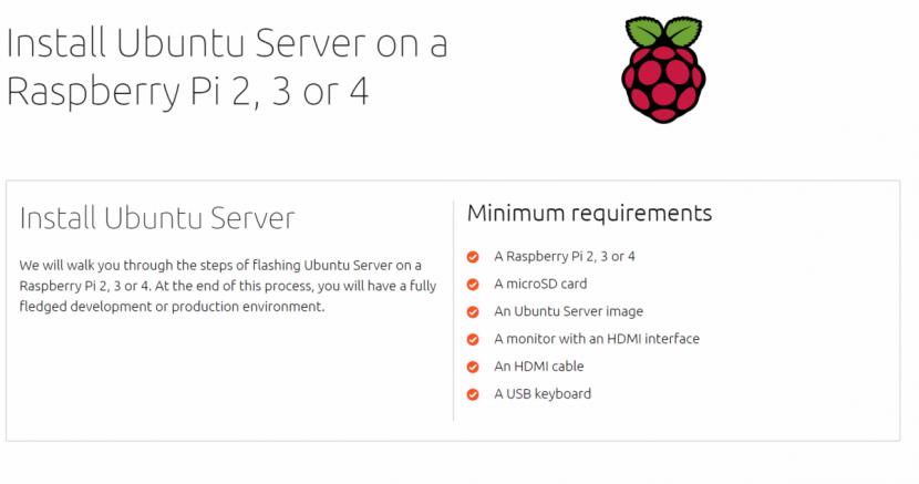 Página anterior de Ubuntu Server para Raspberry