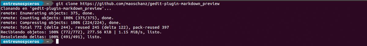 clonando el repositorio de markdown preview