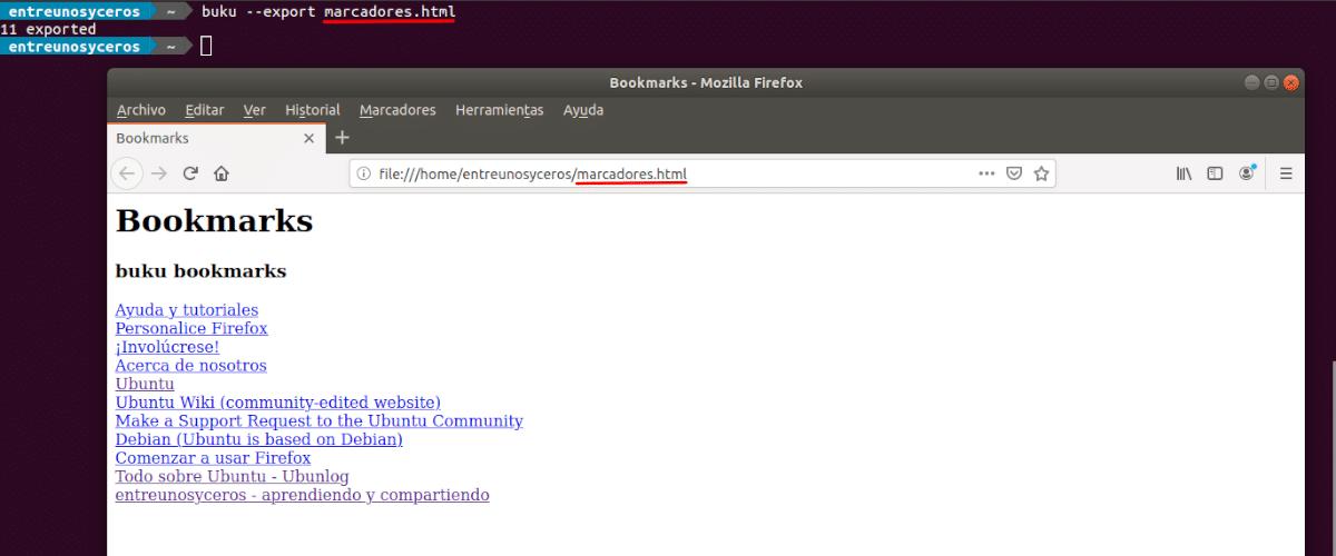 exportar marcadores a html