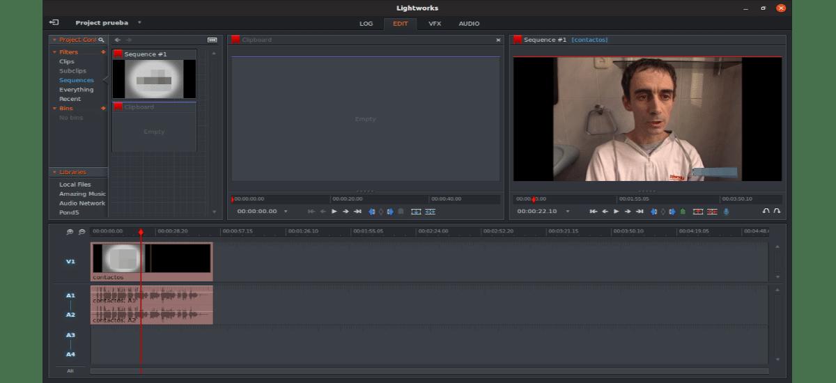 interfaz edit lightworks