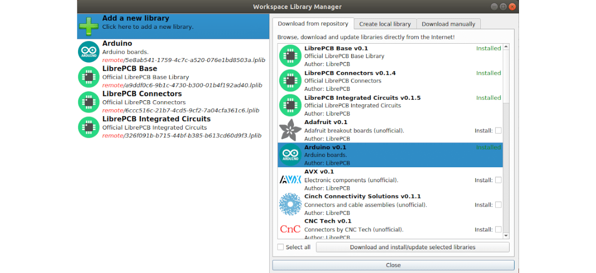 Workspace library manager