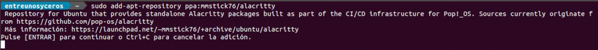añadir el repositorio de Alacritty