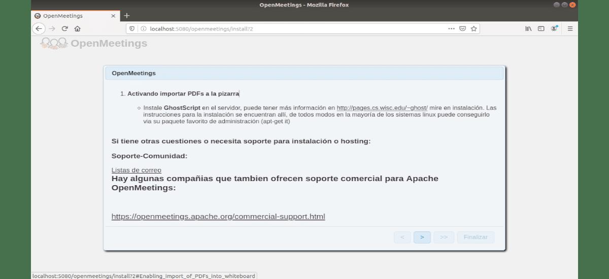 configuración de OpenMeetings pantalla1