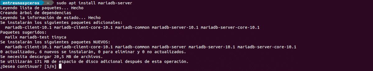 instalación mariadb-server