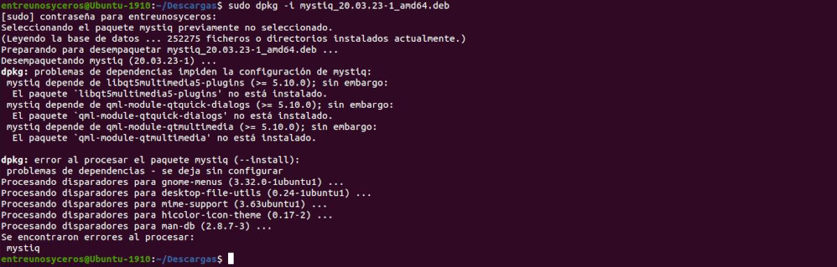 instalación binario de MystiQ