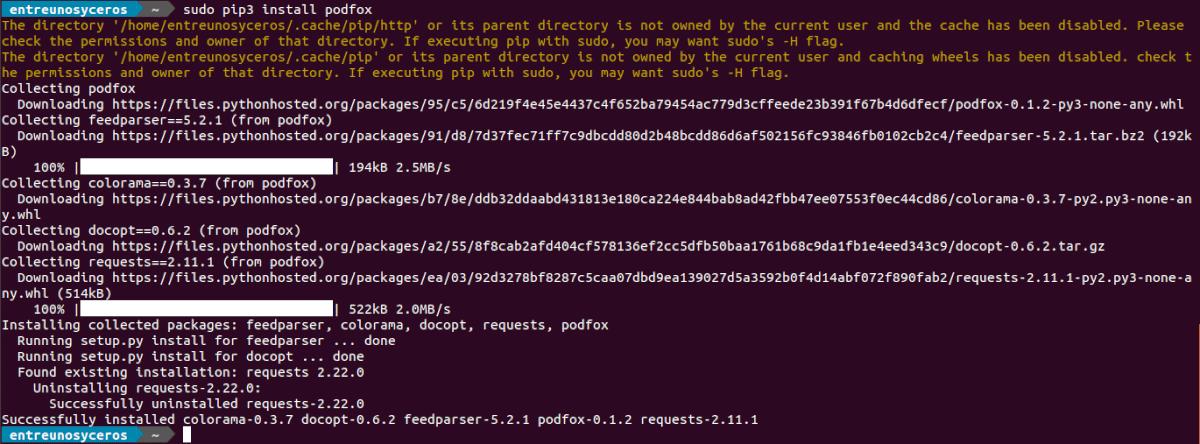 instalar podfox con pip3