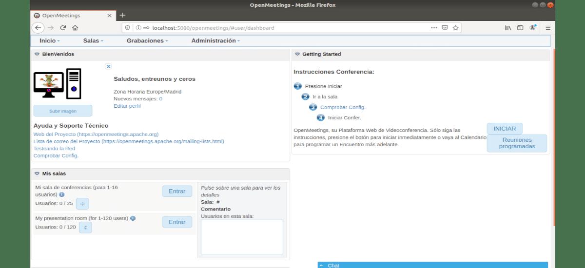 usuario logueado en OpenMeetings