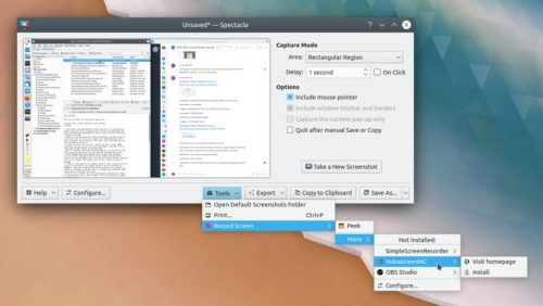 Compartir en app en Spectacle de KDE