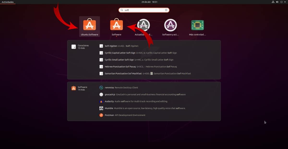 Ubuntu software y Software de Ubuntu, dos tiendas en Ubuntu 20.04
