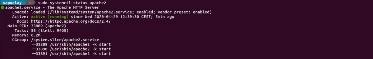 Status del servidor web Apache