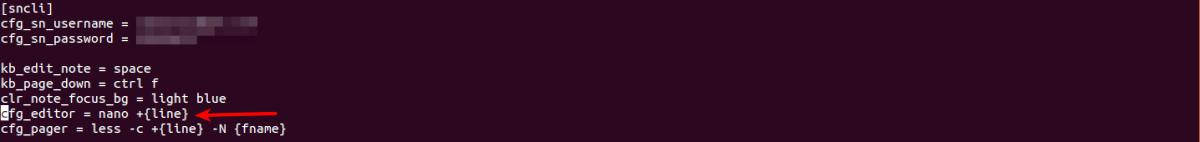 configuración de ejemplo para sncli