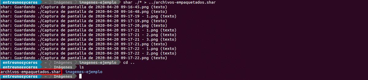 creación del archivo shar