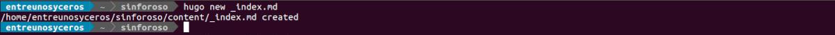 creación de index en Hugo