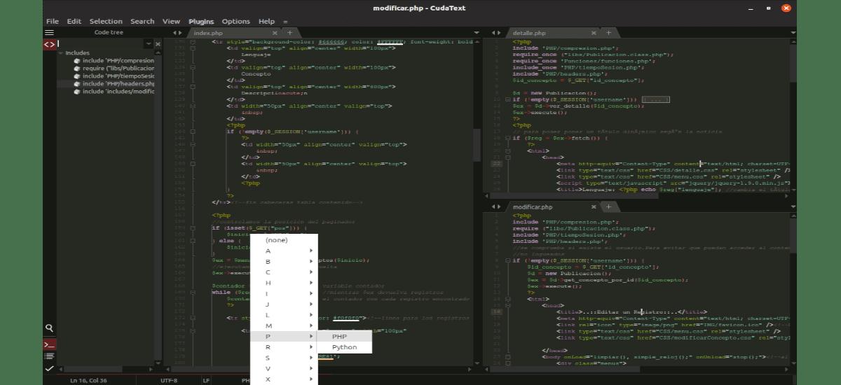 cudatext funcionando a pantalla partida