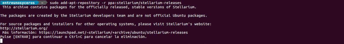 desinstalar repo stellarium