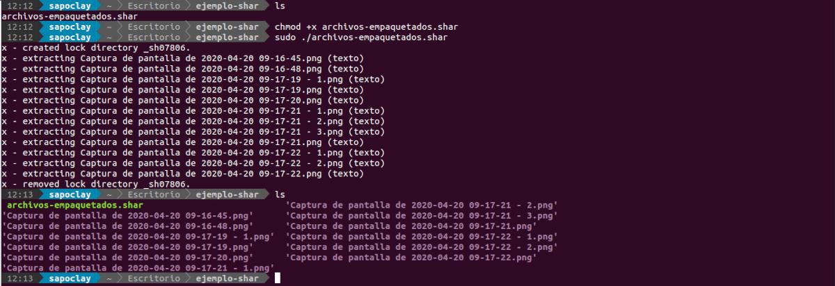 ejecución del archivo shar