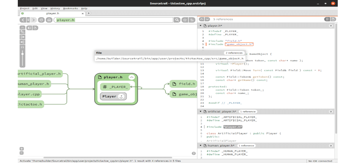 ejemplo funcionando de Sourcetrail