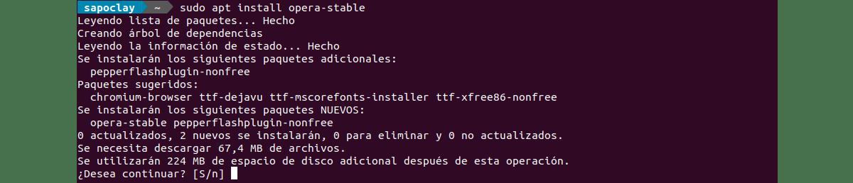 instalarcion opera stable