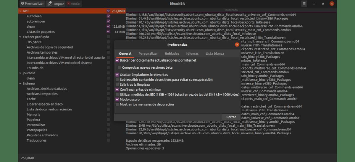 preferencias de BleachBit 4.0.0