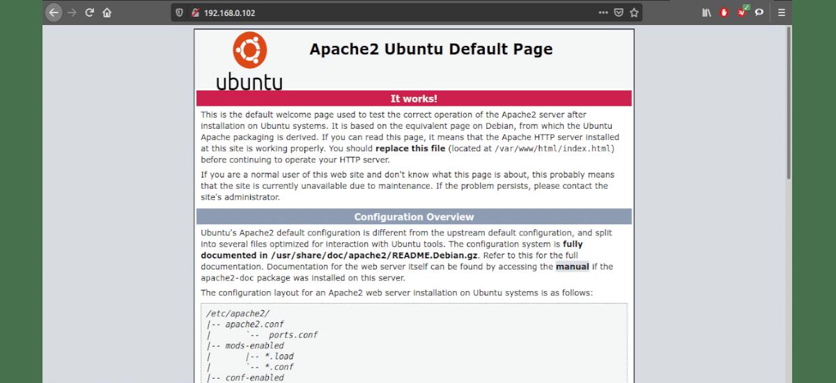 Servidor web Apache funcionando en local