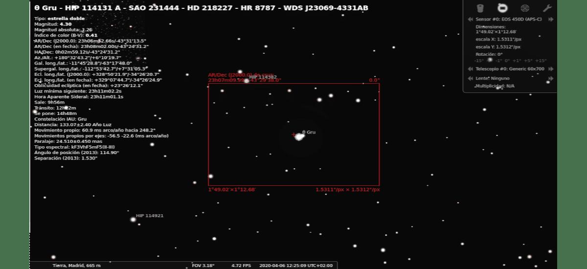 stellarium objeto celeste