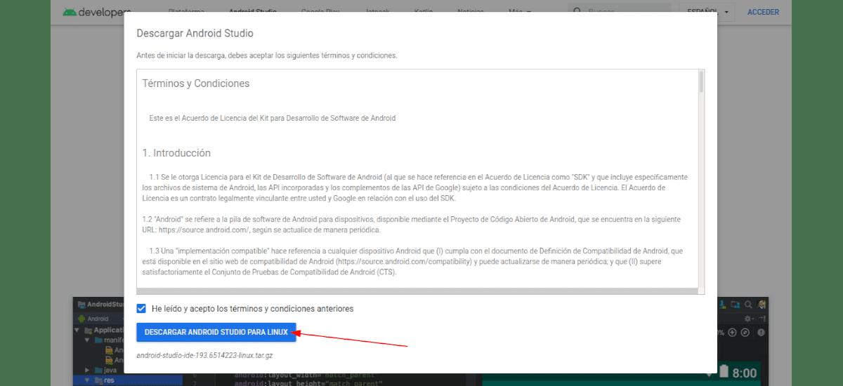 aceptar términos y condiciones descarga Android Studio 4.0