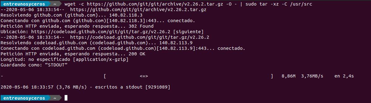 descargar la fuente de Git