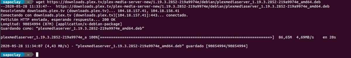 descarga Plex desde la terminal