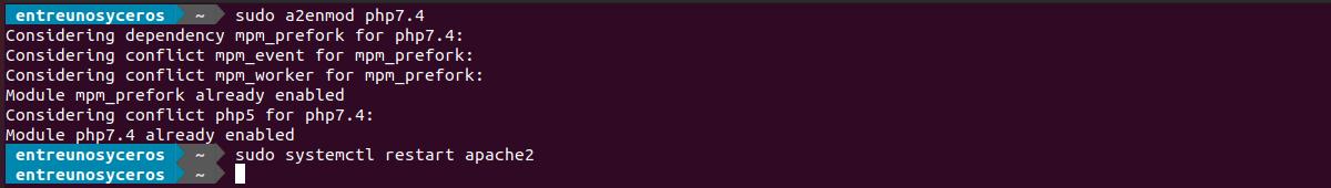 habilitar el módulo php7.4