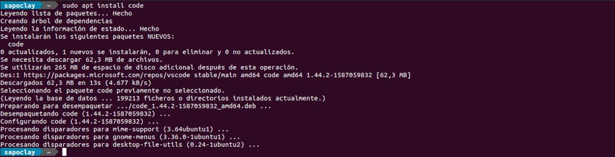 instalación de VS Code con apt