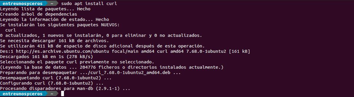 instalación curl en Ubuntu 20.04