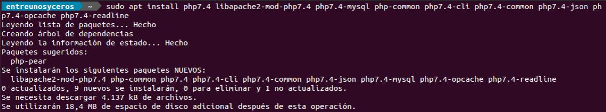 instalar php 7.4 en LAMP