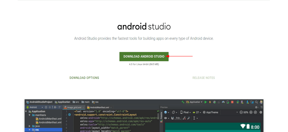 Página de descarga de Android Studio 4.0
