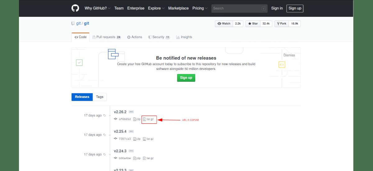 Página de descarga de la fuente de Git