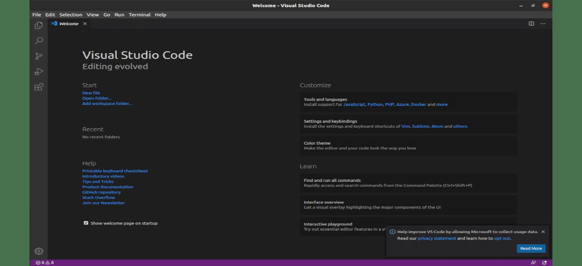 pantall de inicio en VS Code