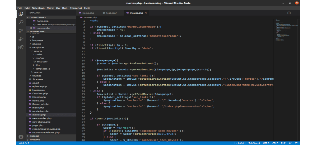 ejemplo de Visual Studio Code