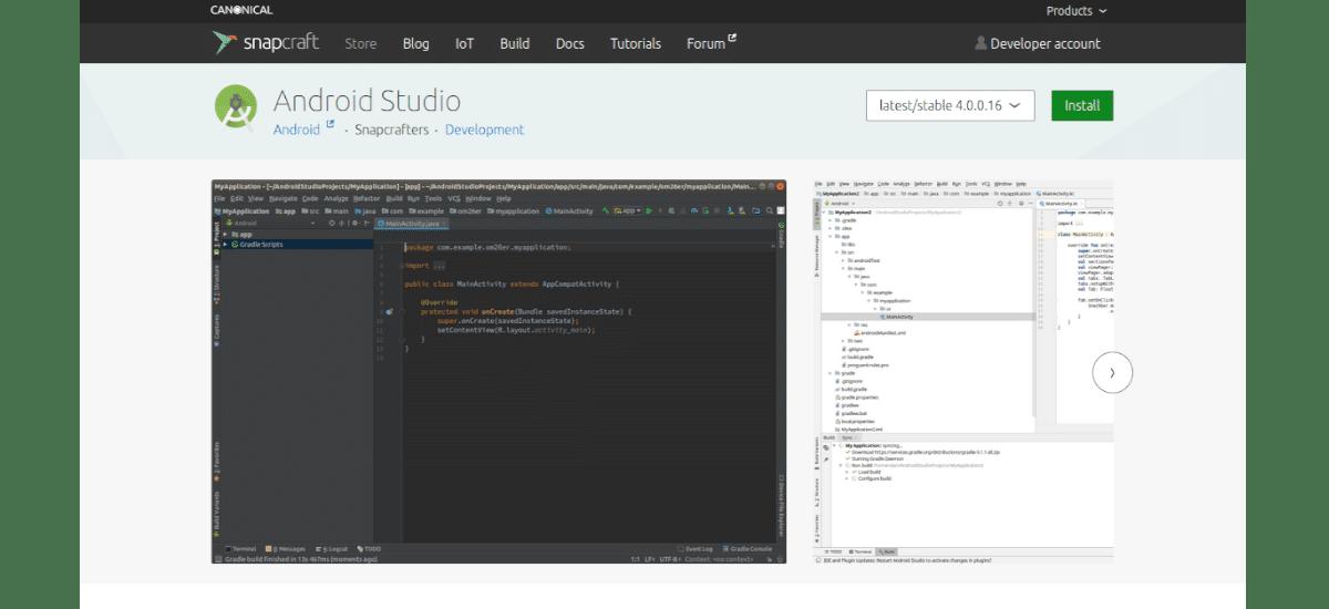 Android Studio 4 en Snapcraft