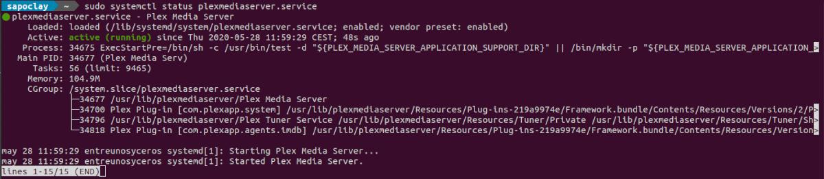 status plexmedia server instalado desde el repositorio