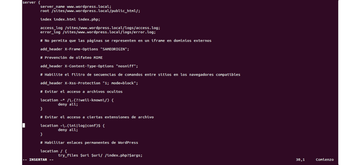 archivo de configuración de nginx para Wordpress local
