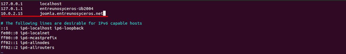 archivo hosts para joomla