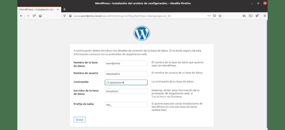 configuración de la base de datos en la instalación de Wp