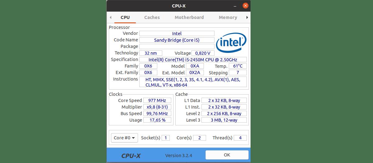 pestaña CPU